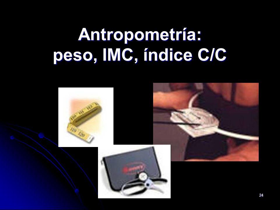 Antropometría: peso, IMC, índice C/C