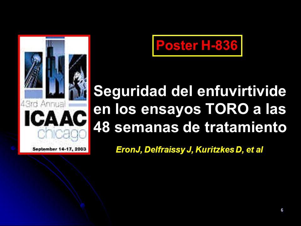 Poster H-836 Seguridad del enfuvirtivide en los ensayos TORO a las 48 semanas de tratamiento.