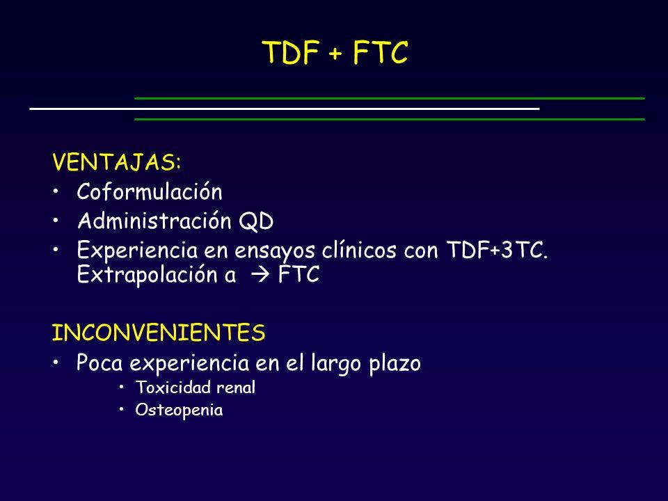 TDF + FTC VENTAJAS: Coformulación Administración QD
