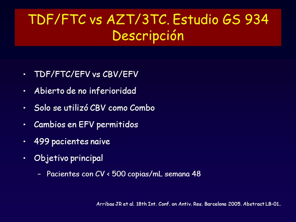 TDF/FTC vs AZT/3TC. Estudio GS 934 Descripción