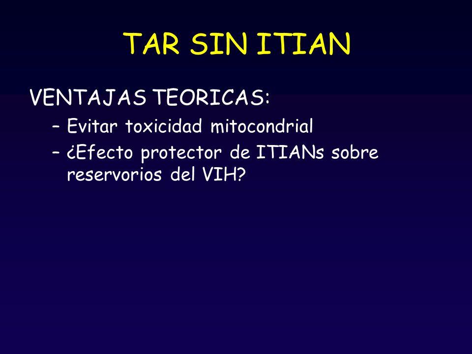 TAR SIN ITIAN VENTAJAS TEORICAS: Evitar toxicidad mitocondrial
