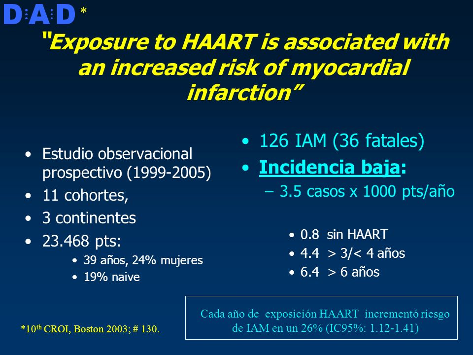 * D. A. Exposure to HAART is associated with an increased risk of myocardial infarction Estudio observacional prospectivo (1999-2005)