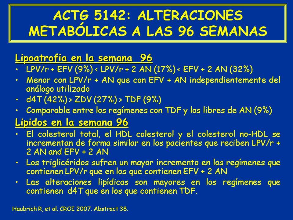 ACTG 5142: ALTERACIONES METABÓLICAS A LAS 96 SEMANAS