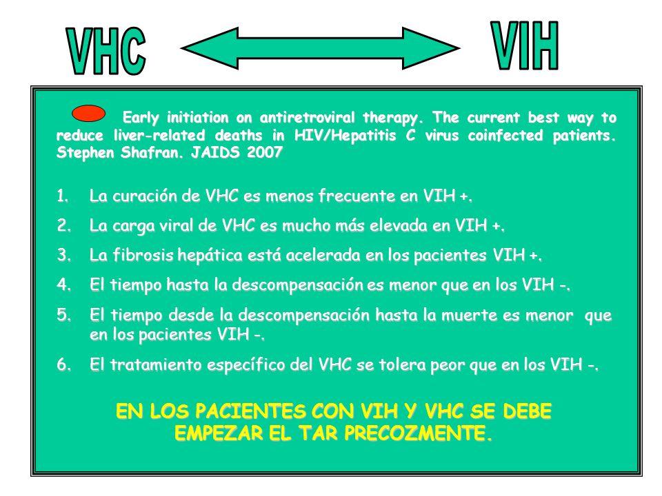 EN LOS PACIENTES CON VIH Y VHC SE DEBE EMPEZAR EL TAR PRECOZMENTE.