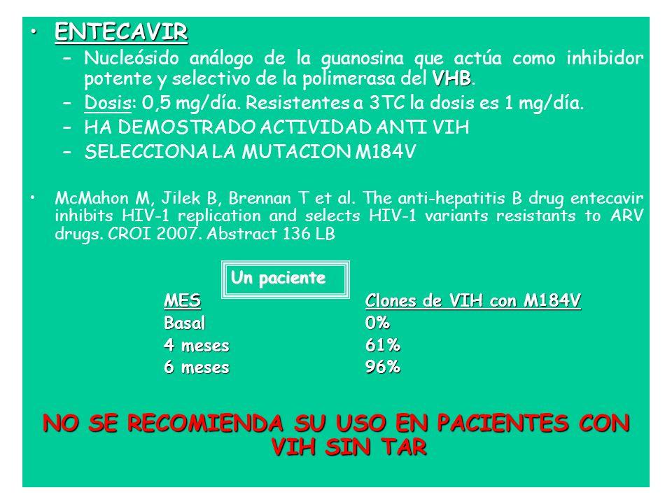 NO SE RECOMIENDA SU USO EN PACIENTES CON VIH SIN TAR