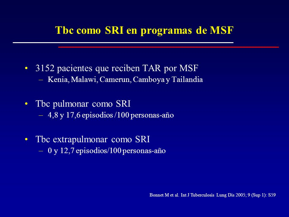 Tbc como SRI en programas de MSF