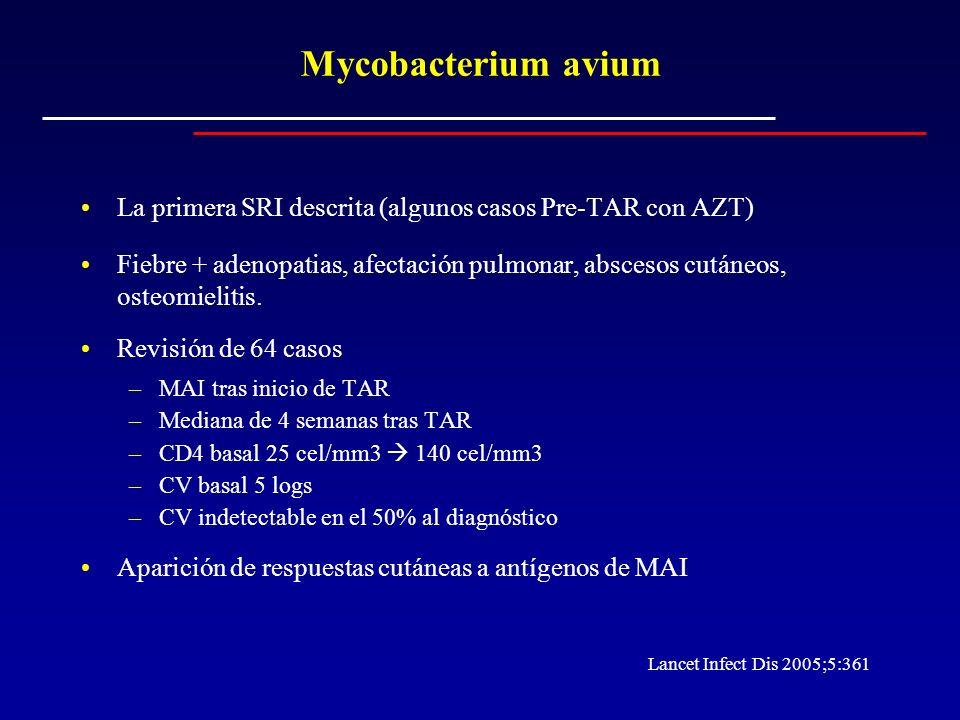 Mycobacterium avium La primera SRI descrita (algunos casos Pre-TAR con AZT)