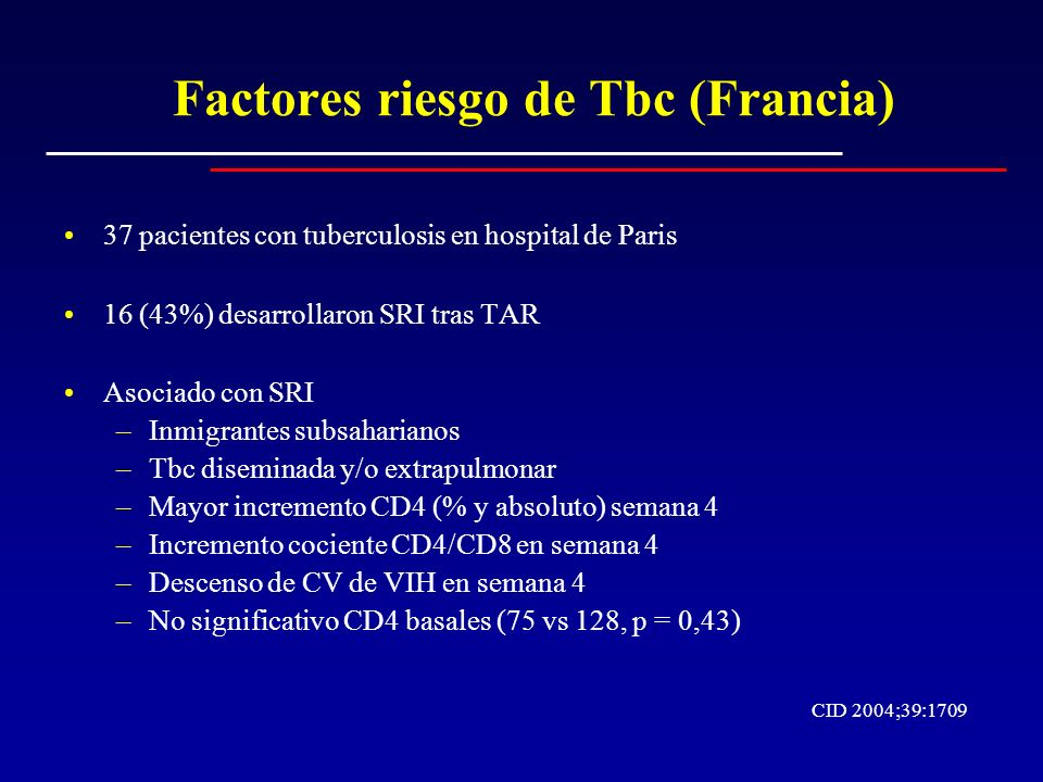 Factores riesgo de Tbc (Francia)
