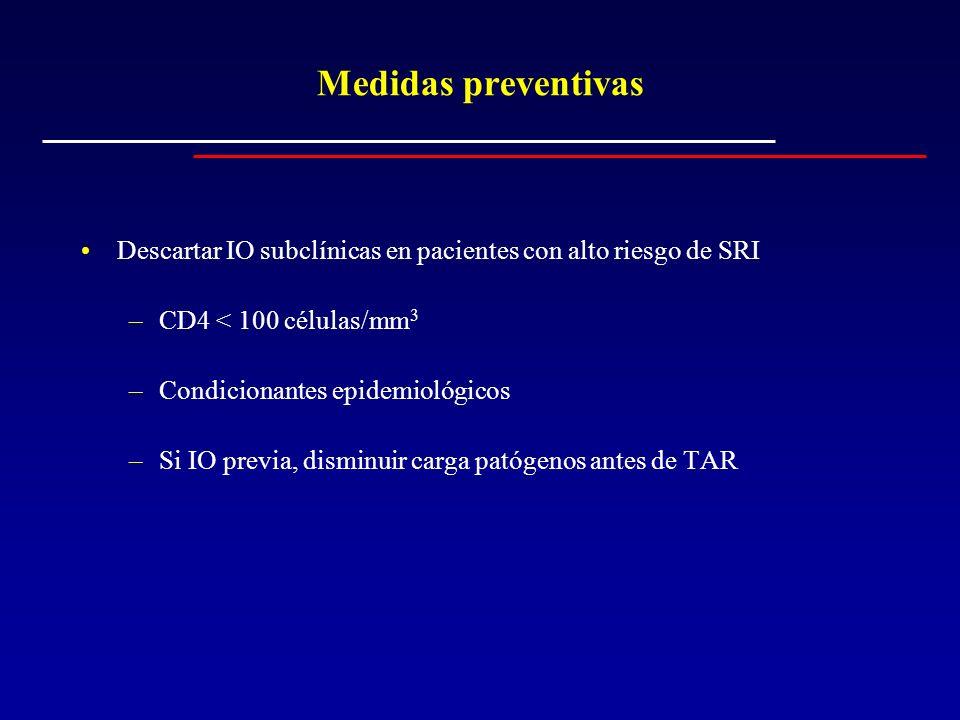 Medidas preventivas Descartar IO subclínicas en pacientes con alto riesgo de SRI. CD4 < 100 células/mm3.