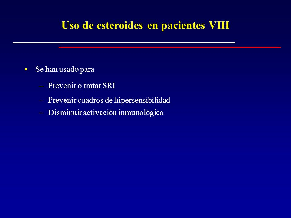 Uso de esteroides en pacientes VIH