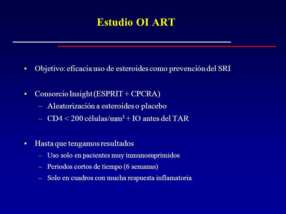 Estudio OI ART Objetivo: eficacia uso de esteroides como prevención del SRI. Consorcio Insight (ESPRIT + CPCRA)