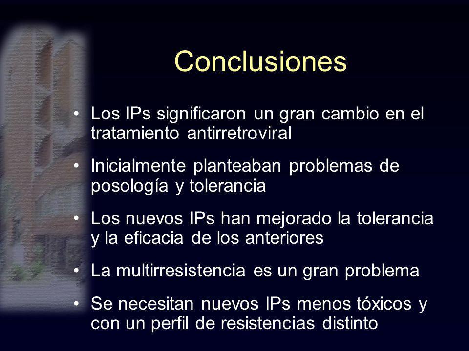 Conclusiones Los IPs significaron un gran cambio en el tratamiento antirretroviral. Inicialmente planteaban problemas de posología y tolerancia.