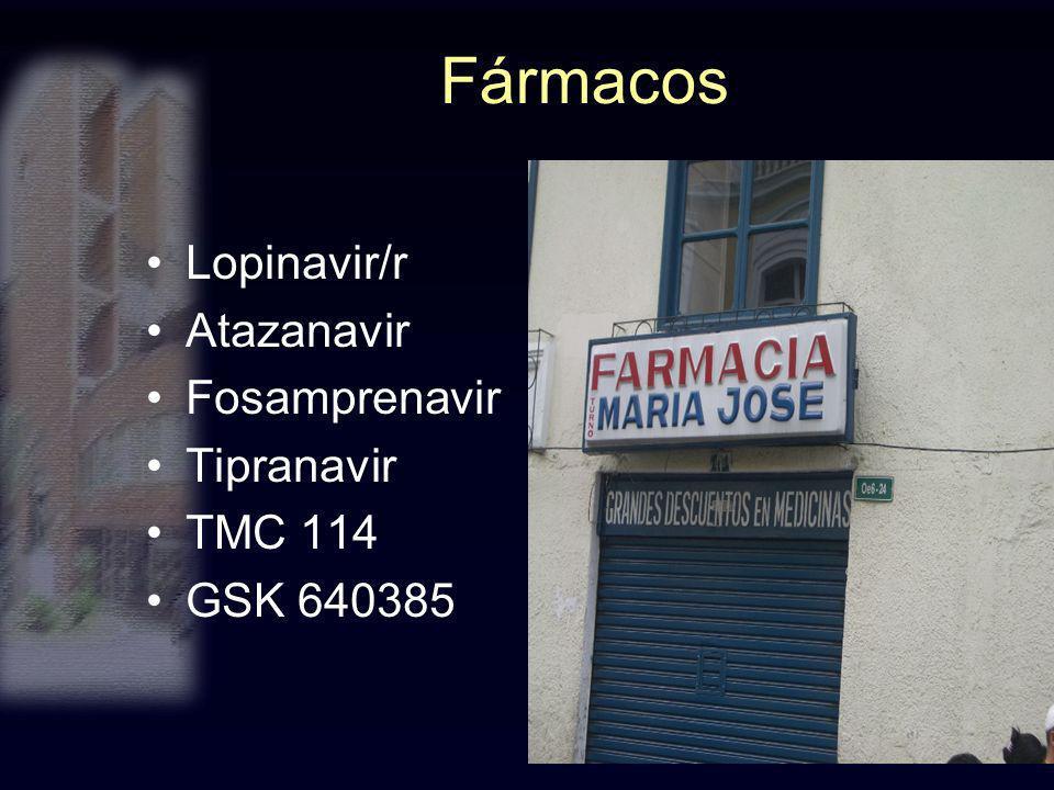 Fármacos Lopinavir/r Atazanavir Fosamprenavir Tipranavir TMC 114