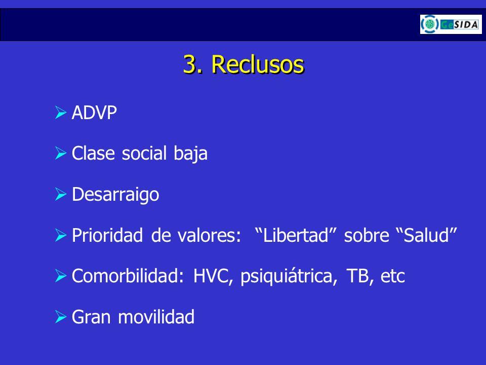 3. Reclusos ADVP Clase social baja Desarraigo