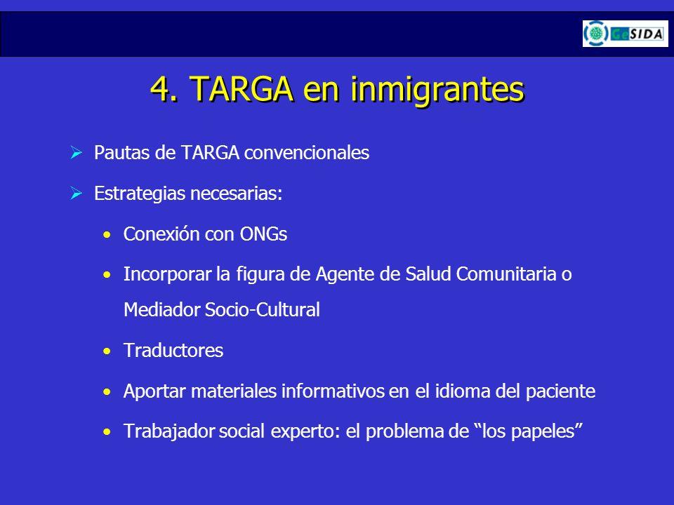 4. TARGA en inmigrantes Pautas de TARGA convencionales