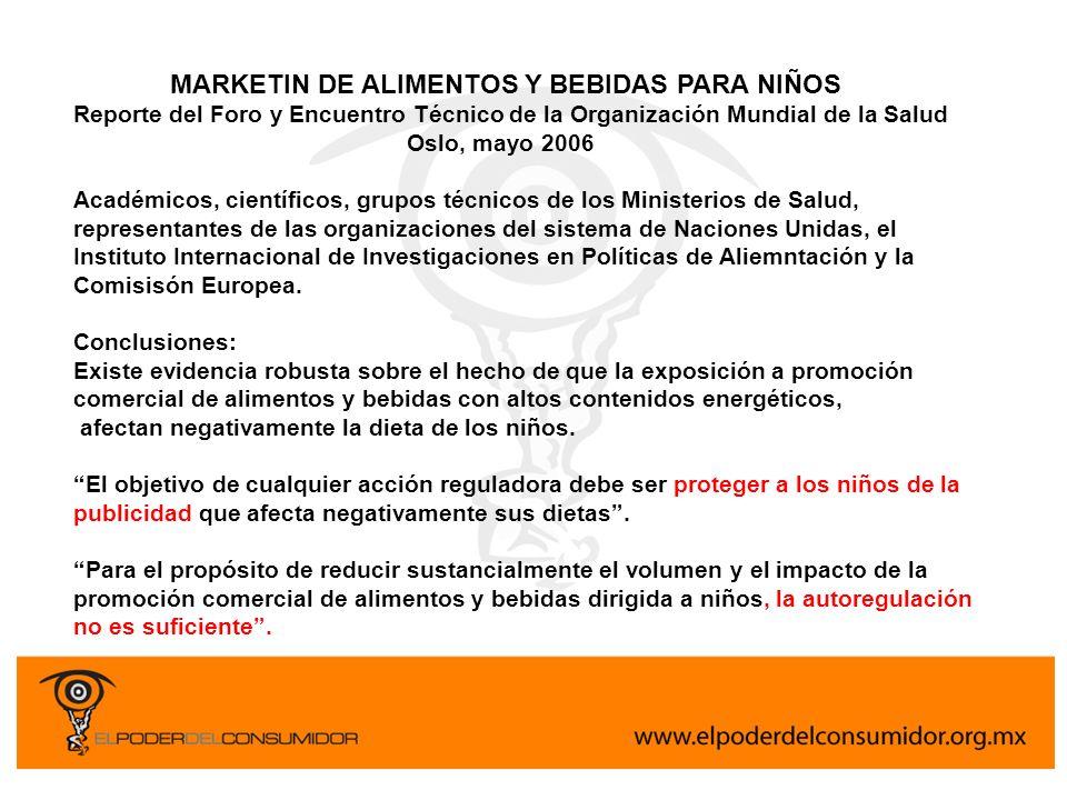 MARKETIN DE ALIMENTOS Y BEBIDAS PARA NIÑOS