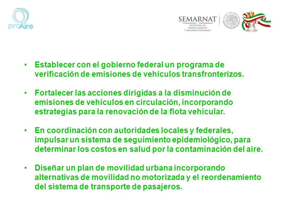 Establecer con el gobierno federal un programa de verificación de emisiones de vehículos transfronterizos.