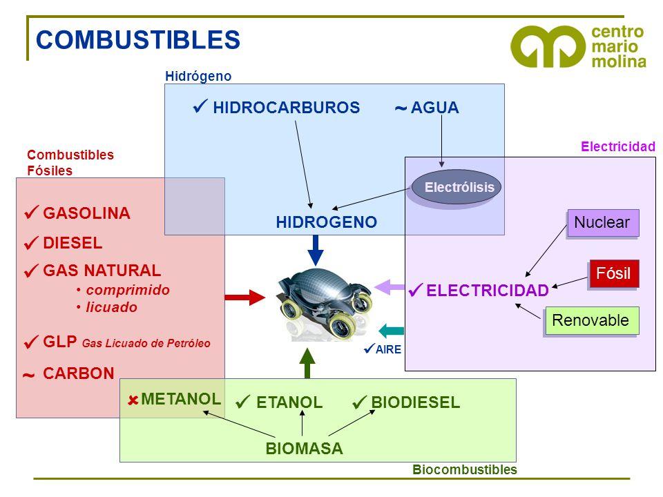 COMBUSTIBLES  ~   ~   HIDROGENO HIDROCARBUROS AGUA Nuclear Fósil