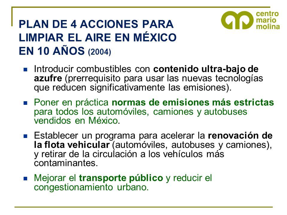 PLAN DE 4 ACCIONES PARA LIMPIAR EL AIRE EN MÉXICO EN 10 AÑOS (2004)