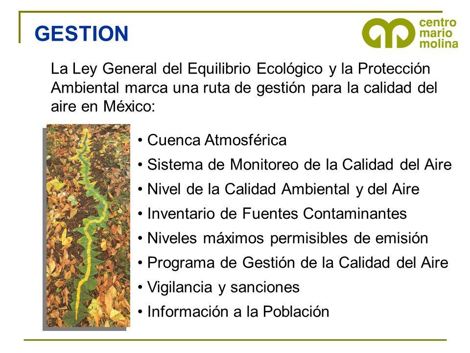 GESTION La Ley General del Equilibrio Ecológico y la Protección Ambiental marca una ruta de gestión para la calidad del aire en México: