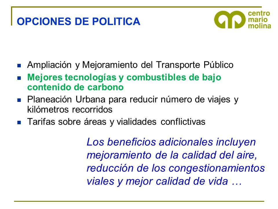 OPCIONES DE POLITICA Ampliación y Mejoramiento del Transporte Público. Mejores tecnologías y combustibles de bajo contenido de carbono.