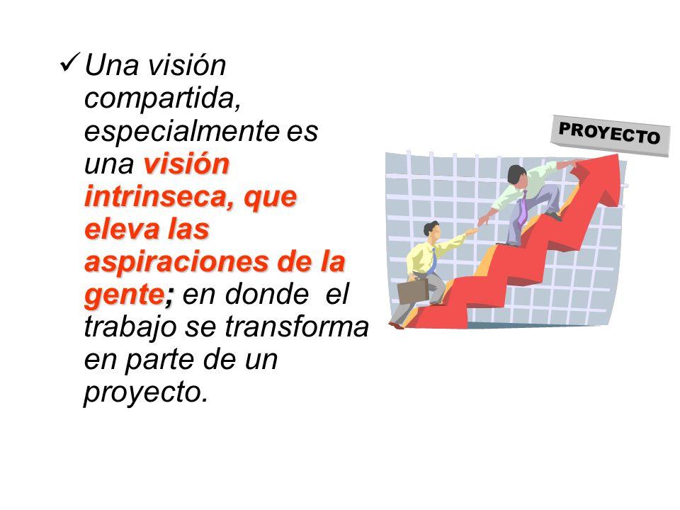 Una visión compartida, especialmente es una visión intrinseca, que eleva las aspiraciones de la gente; en donde el trabajo se transforma en parte de un proyecto.