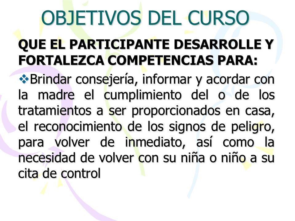 OBJETIVOS DEL CURSO QUE EL PARTICIPANTE DESARROLLE Y FORTALEZCA COMPETENCIAS PARA: