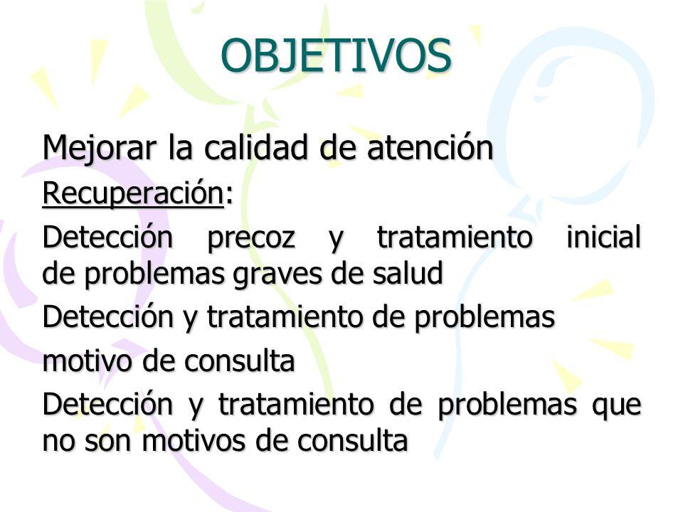OBJETIVOS Mejorar la calidad de atención Recuperación: