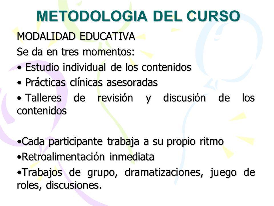 METODOLOGIA DEL CURSO MODALIDAD EDUCATIVA Se da en tres momentos:
