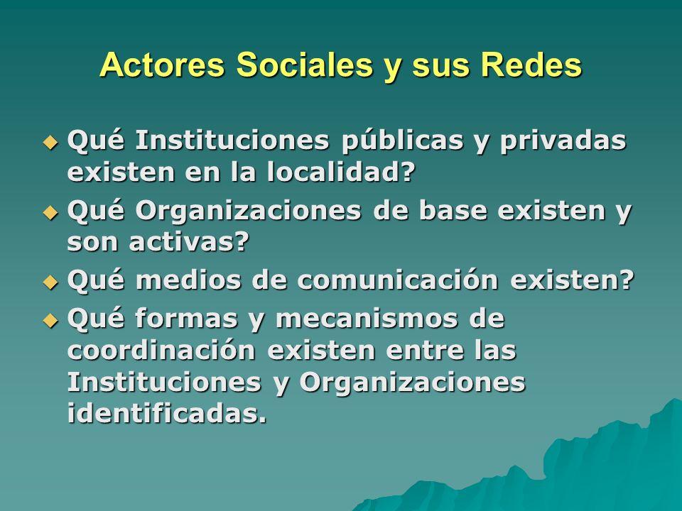 Actores Sociales y sus Redes
