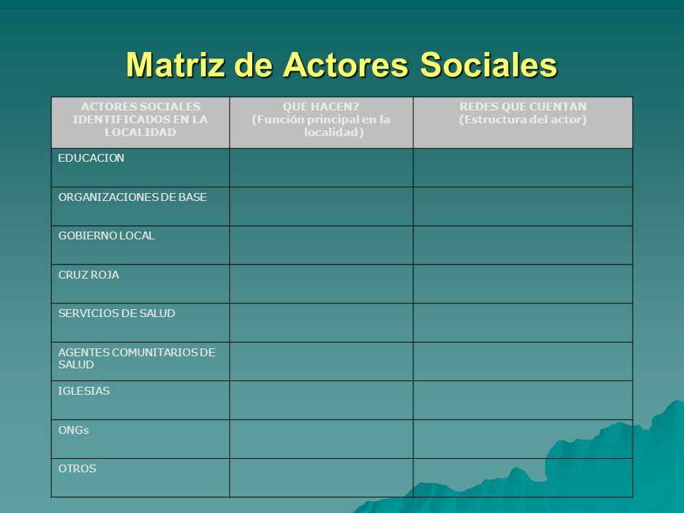 Matriz de Actores Sociales