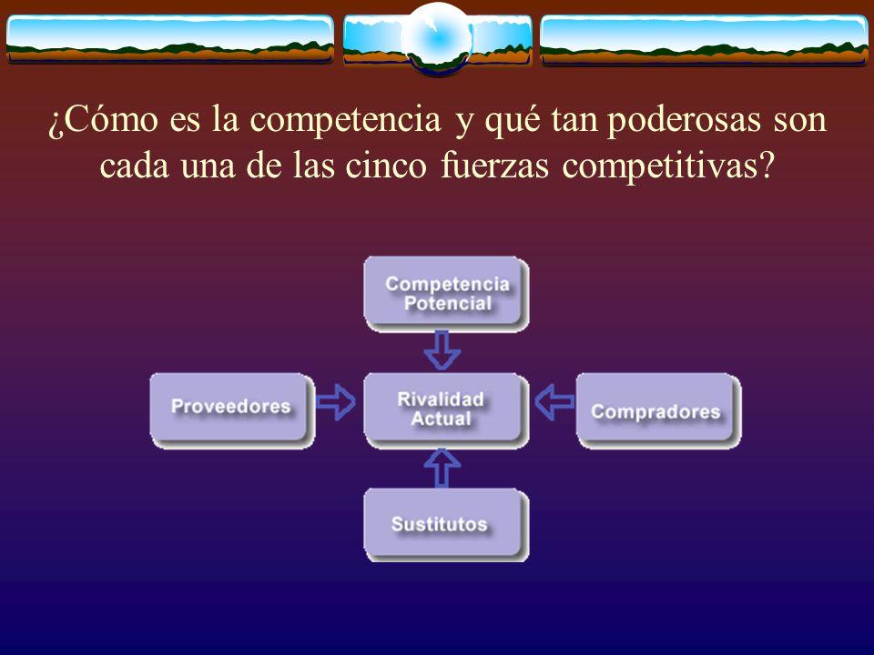 ¿Cómo es la competencia y qué tan poderosas son cada una de las cinco fuerzas competitivas