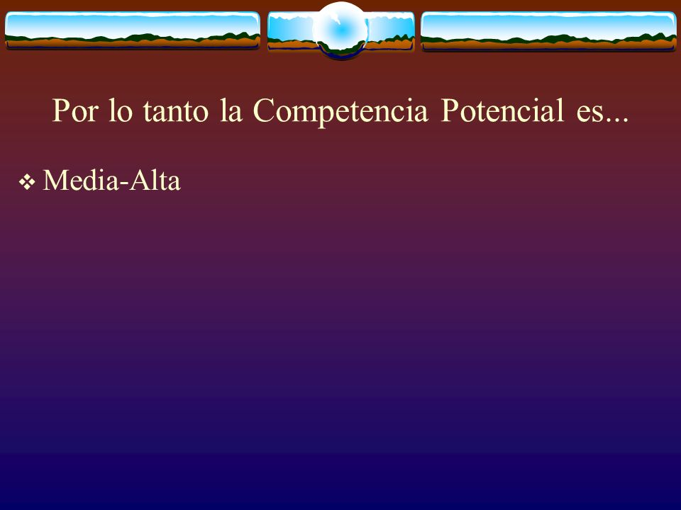 Por lo tanto la Competencia Potencial es...