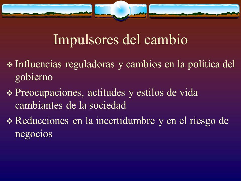 Impulsores del cambio Influencias reguladoras y cambios en la política del gobierno.