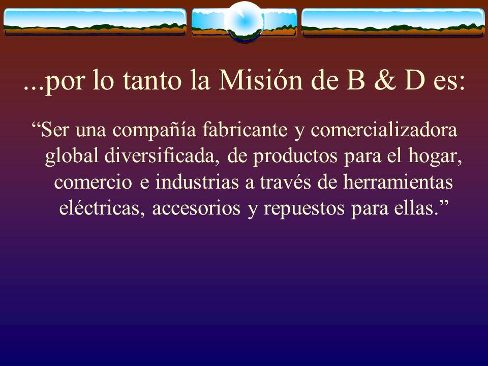 ...por lo tanto la Misión de B & D es: