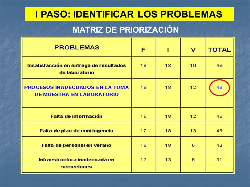 I PASO: IDENTIFICAR LOS PROBLEMAS
