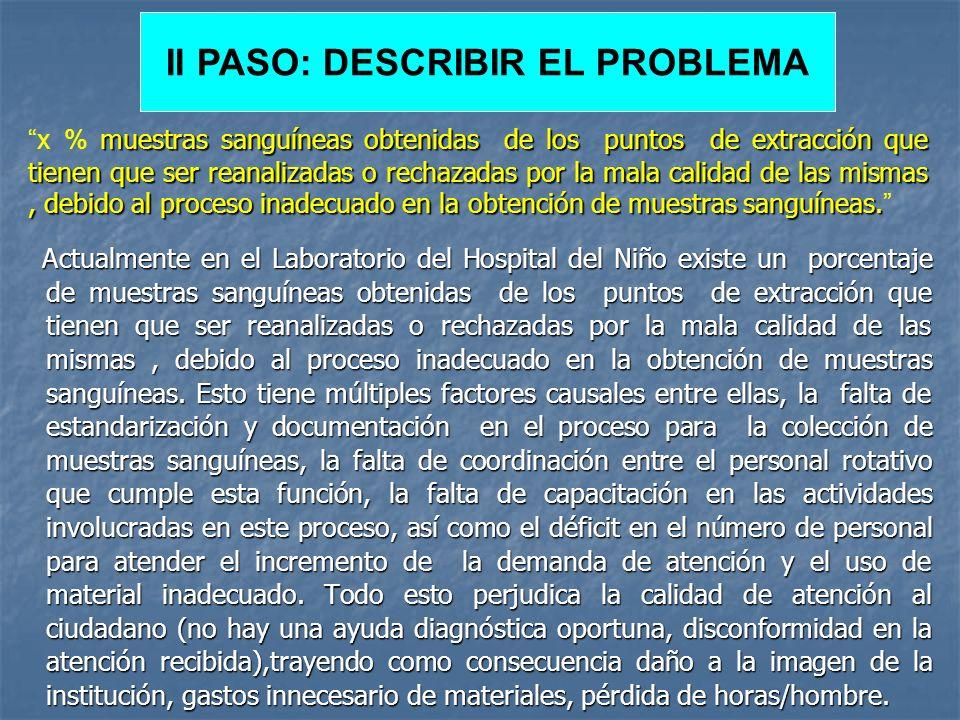 II PASO: DESCRIBIR EL PROBLEMA