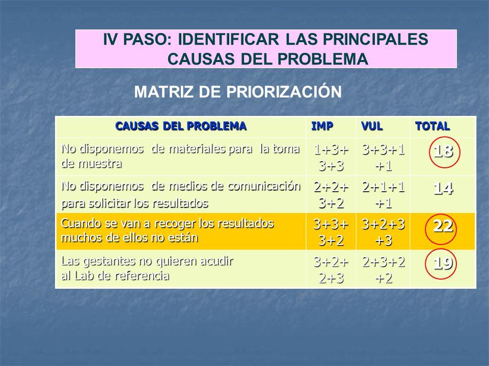 IV PASO: IDENTIFICAR LAS PRINCIPALES