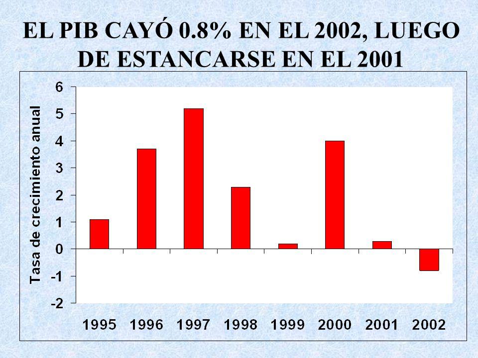 EL PIB CAYÓ 0.8% EN EL 2002, LUEGO DE ESTANCARSE EN EL 2001
