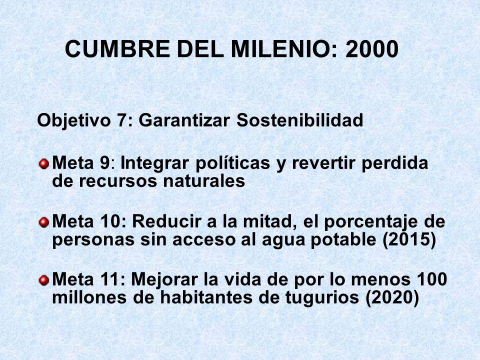 CUMBRE DEL MILENIO: 2000 Objetivo 7: Garantizar Sostenibilidad