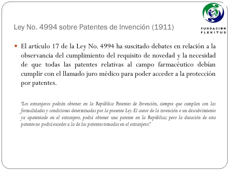 Ley No. 4994 sobre Patentes de Invención (1911)