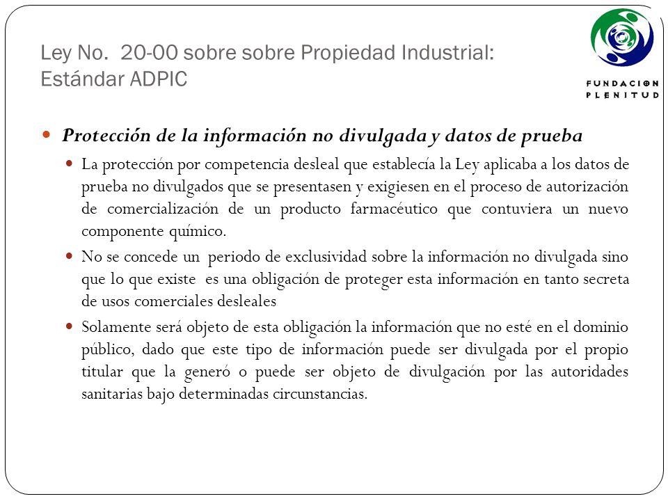 Ley No. 20-00 sobre sobre Propiedad Industrial: Estándar ADPIC