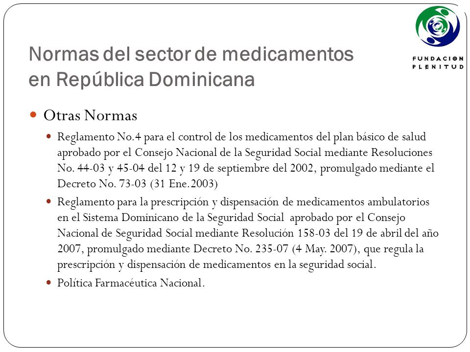 Normas del sector de medicamentos en República Dominicana
