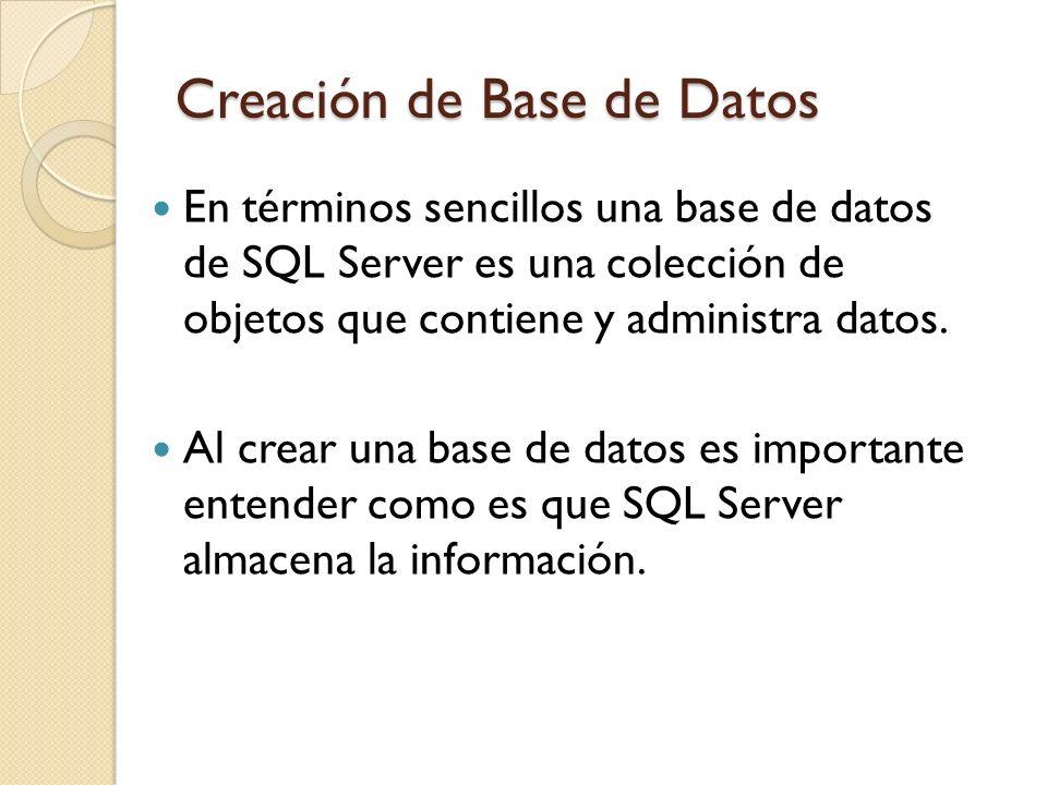 Creación de Base de Datos