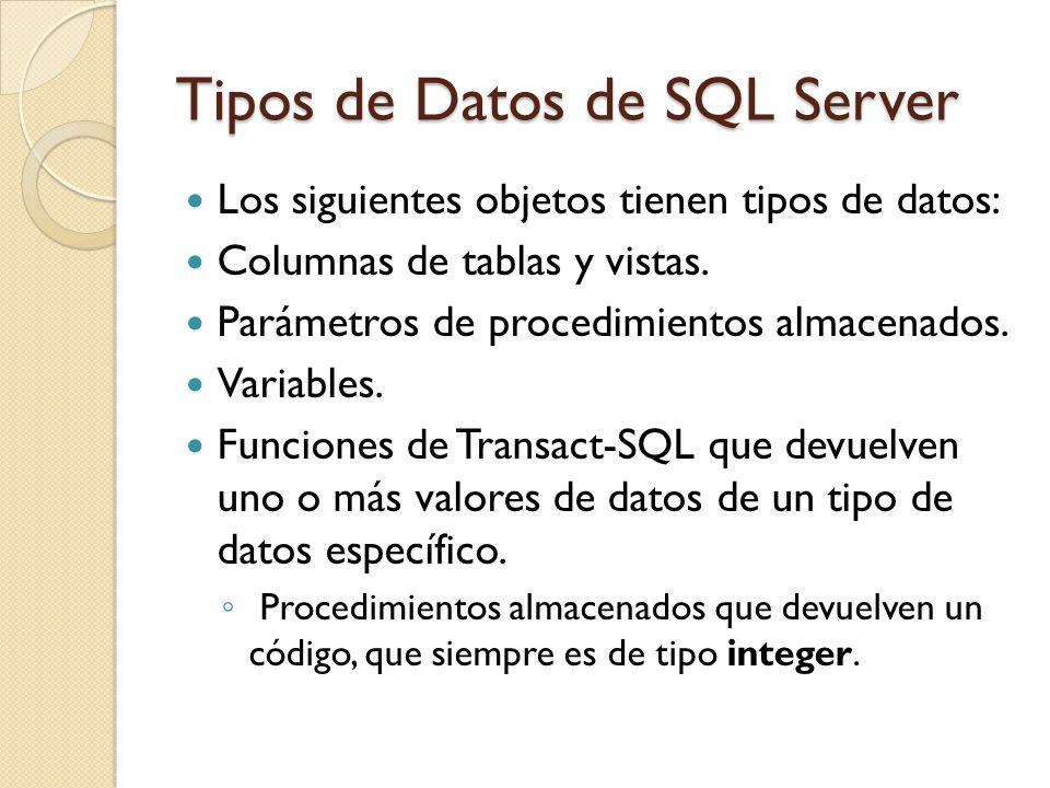 Tipos de Datos de SQL Server
