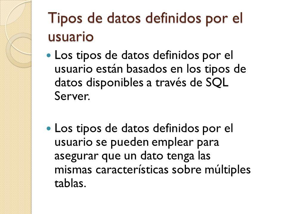 Tipos de datos definidos por el usuario