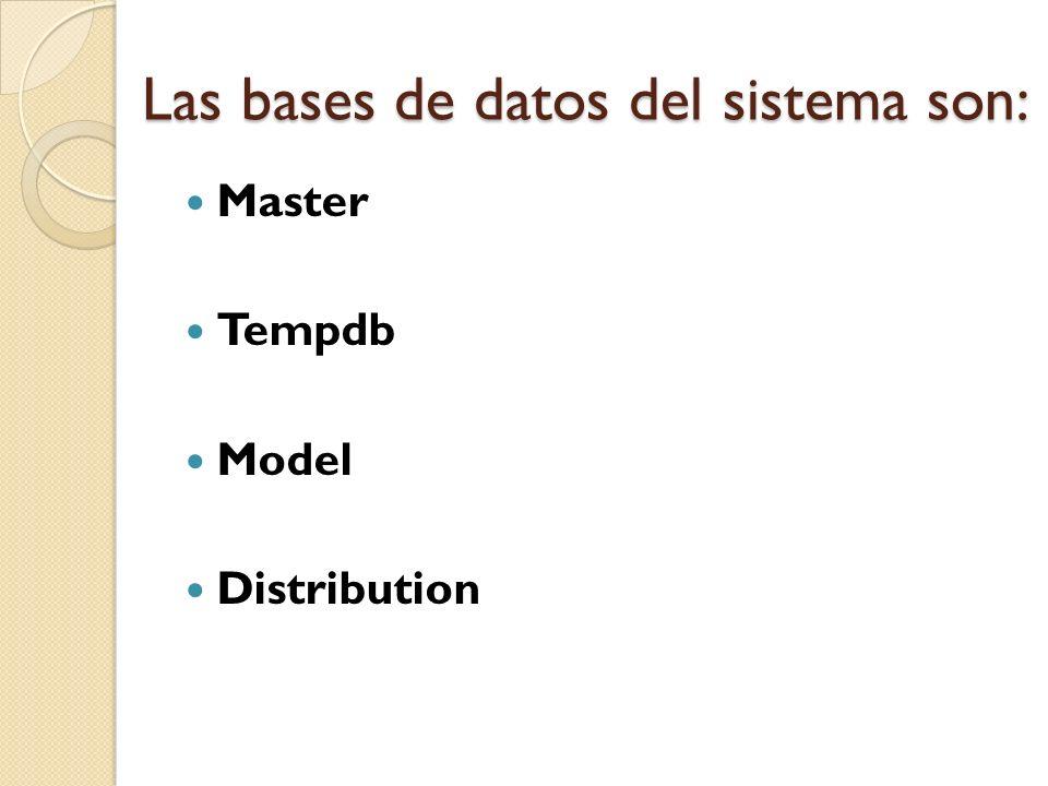 Las bases de datos del sistema son: