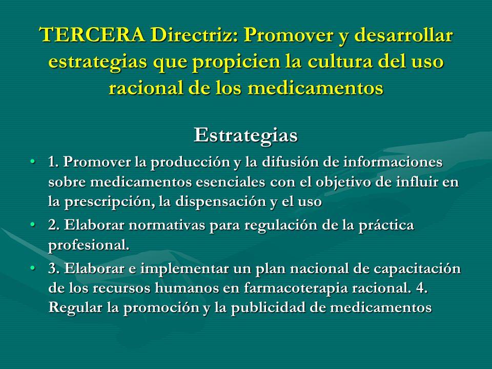 TERCERA Directriz: Promover y desarrollar estrategias que propicien la cultura del uso racional de los medicamentos