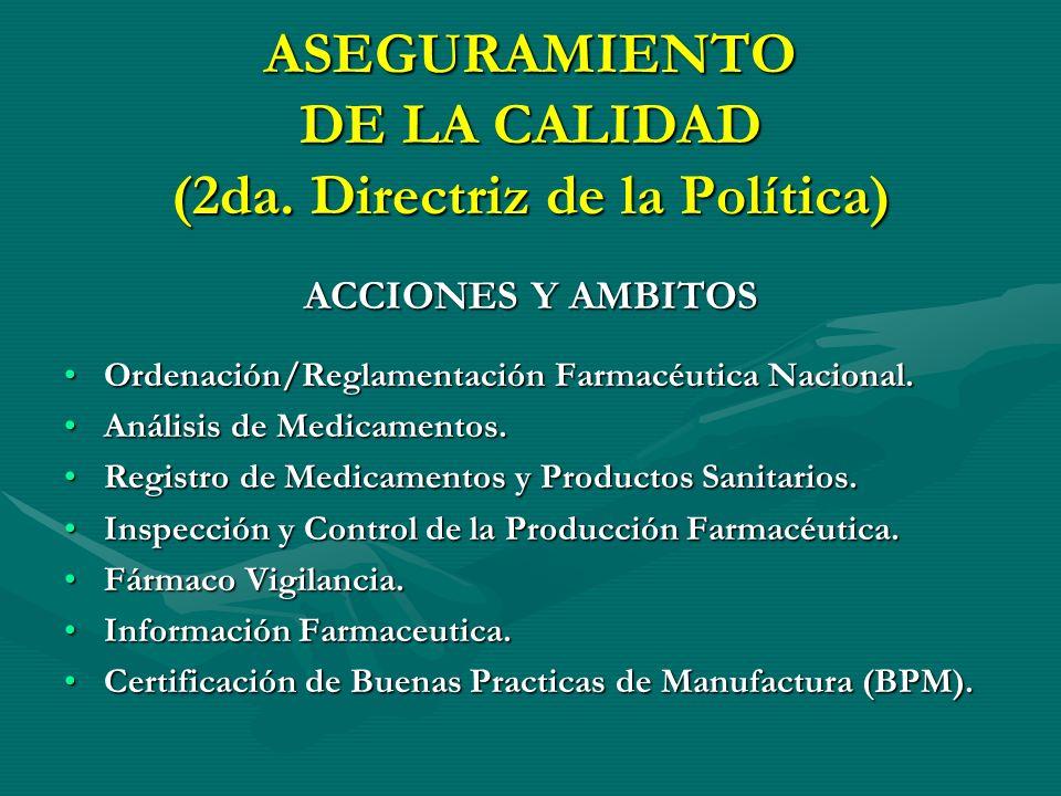ASEGURAMIENTO DE LA CALIDAD (2da. Directriz de la Política)