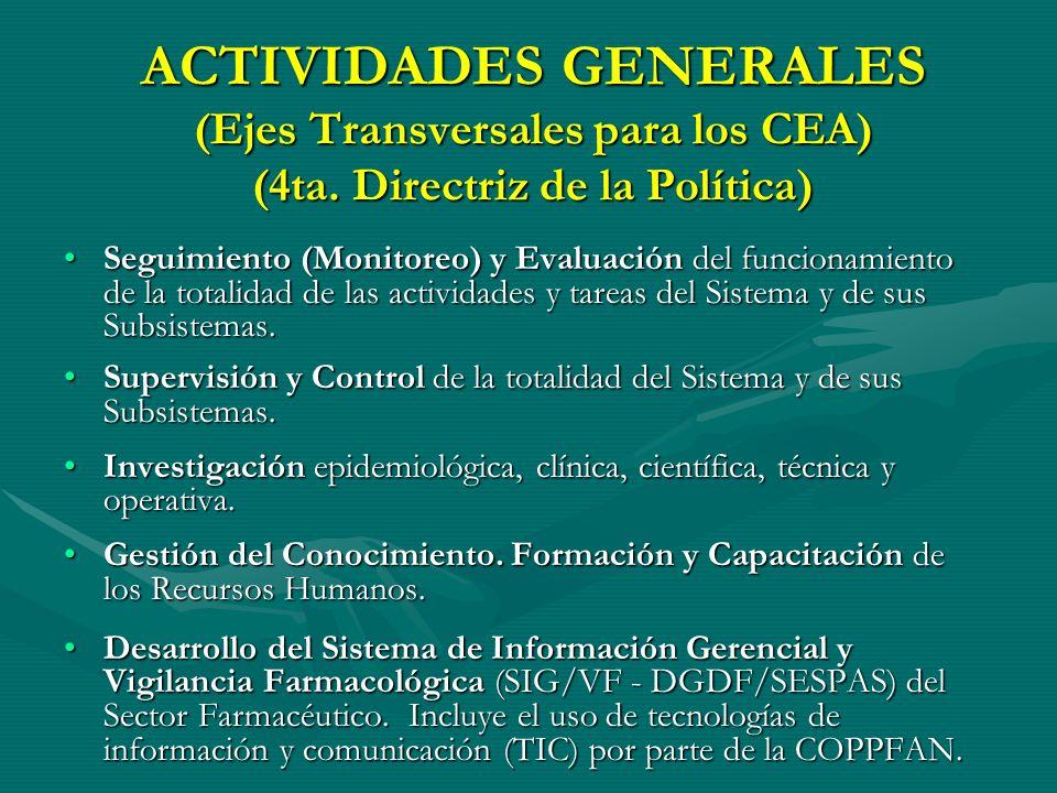 ACTIVIDADES GENERALES (Ejes Transversales para los CEA) (4ta